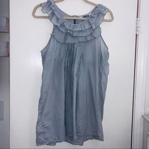 Light blue / grey ruffle tramp tank top